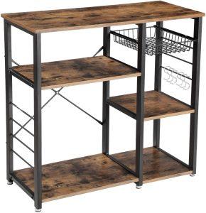 Kitchen utensils organizer Rack, Coffee Bar with Wire Basket 6 Hooks