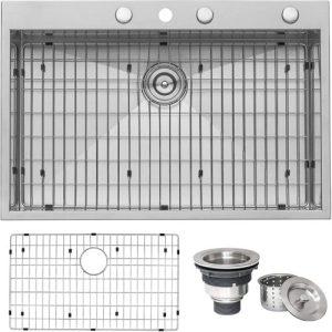 Ruvati RVH8001 33 x 22 Inch Topmount Stainless Steel Kitchen Sink